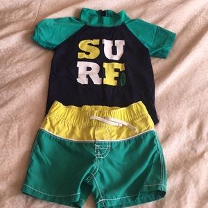 Boys bathing suit with rash guard